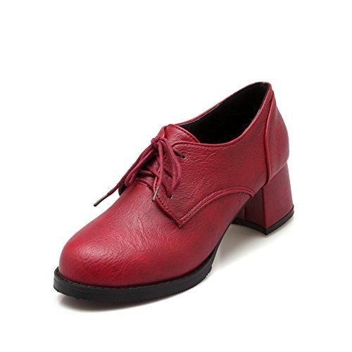 AgooLar Femme Matière Mélangee Lacet Rond à Talon Correct Couleur Unie Chaussures Légeres Rouge