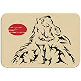 ctf6hfv5 Carpet Rug Door Mat Tattoo Style Wolf Paintings Rainbow 16 * 24 Inch