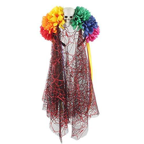 Amosfun Tag der Toten Stirnband Blumenkrone Dia De Los Muertos Tag der Toten Kopfbedeckung Kostüm Gastgeschenke