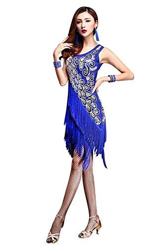 nzkleid Frau Quaste Ärmellos Pailletten Tanzrock Für Tango Rumba Gatsby Cocktail-Latin-Party Tanzbekleidung,Blue,L (Rumba Frau Kostüm)