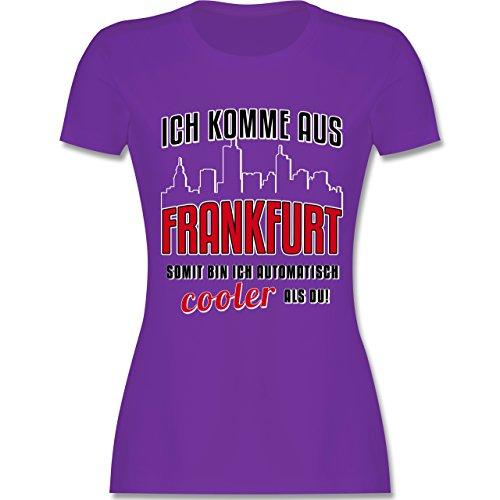 Städte Ich komme aus Frankfurt tailliertes Premium TShirt mit  Rundhalsausschnitt für Damen Lila