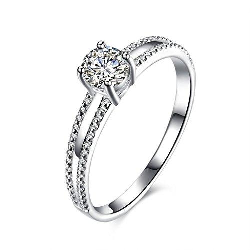 Damen-verlobungsringe Günstige (HMILYDYK Damenring für Verlobung, Hochzeit, Silberring mit Solitaire-Stein aus kubischem Zirkonia, Diamantschliff)