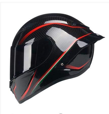 FANHAOWEI Casco Integrale Nero Rosso Sicuro per Moto con Casco Posteriore in Carbonio con verniciatura al Carbonio ECE R22,Black,M