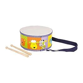 3315 Tamburino Animali small foot in legno, strumento musicale giocattolo per bambini con motivi di animali colorati, cinghie per il trasporto e bacchette di legno