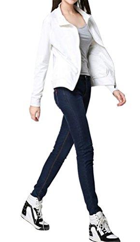 Ghope Printemps Femme Jacket à Manches Longues Ouvert Slim Cardigan Blouson Casual Blazer Coat Blanc