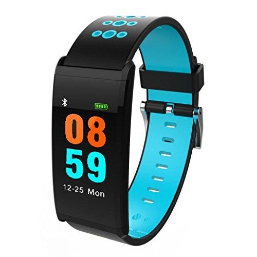 luoluoluo Montre Intelligente Bluetooth étanche Podometre Écran Couleur Fitness Tracker d'Activité Cardiofréquencemètre Moniteur de Sommeil| Bracelet Connectée |Montre Cardio| Ceinture Cardio (Blue)