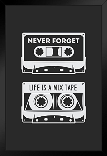 Poster Gießerei Never Forget Life is a Mix Tape Retro Audio Kassette Art Print by proframes Retro 14x20 inches Framed Poster (Kassette Tape Art)