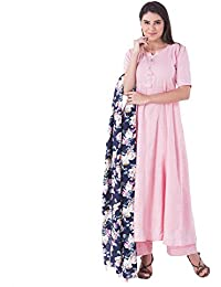 Khushal Women's Cotton Straight Kurta With Palazzo Pant And Floral Print Dupatta Set