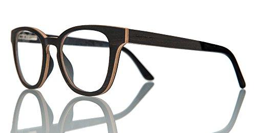 Barkey - Oxford Ebanolz Brille - Hochwertige Brillen in 100% Echtholz Handgefertigt und mit Demo Brillengläser ohne bestimmte Sehstärke mit Schrauböffnungssystem für ein einfaches Gläserwechsel