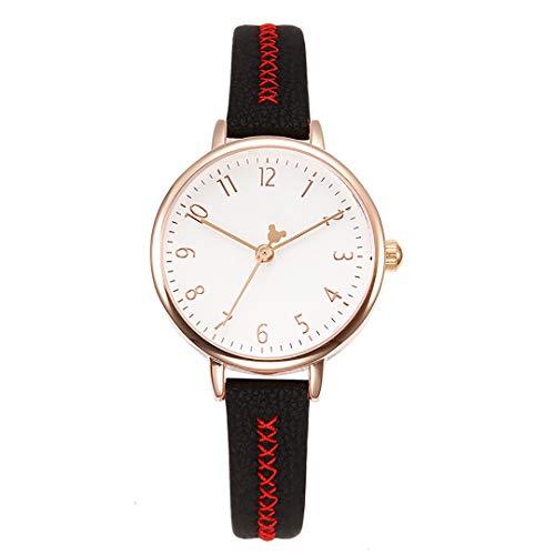 ZZTX FASHION Damen Armbanduhr Frauen Analog Quarz Uhr mit Leder Armband Mode Wasserdicht Uhren Elegante Watch mit Geschenkbox Beste Collection für Mädchen Freundin Ehefrau,Black (Mickey-mouse-black Watch)