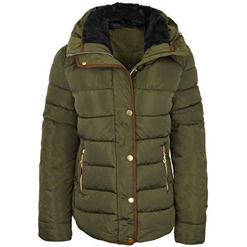 womens-ladies-quilted-winter-coat-puffer-fur-collar-hooded-jacket-parka-size-new-uk-12-khaki-green