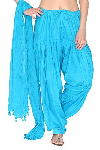 Kurti Studio Women's Cotton Semi Patiala Salwar & Dupatta Set (semipdup06_Light Blue_Free Size)