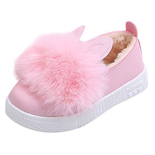 Fenverk Kinder Kleinkind Baby Pelz Sneaker MäDchen Süß Hase Weich Anti-Rutsch Single Schuhe Mode SäUgling Jungs Warm Stiefel Unisex AltaSport Trainer(Rosa_Dick,28 EU)