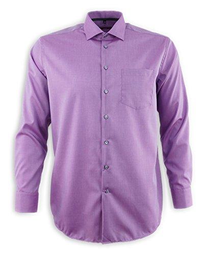 Seidensticker Herren Businesshemd Modern Langarm violett uni mit Kent-Kragen Lila