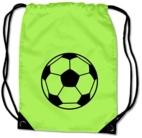 Samunshi® Turnbeutel Fußball Sportbeutel für Fußballschuhe und Trikot BG10 Gymsac 45x34cm Lime grün/schwarz