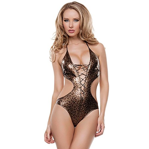 SMSM nach Dem Körper Curve Cut Design Sexy Sexy Unterwäsche Passion Anzug Sexy Leopard Deep V Siamese Sexy Unterwäsche,L (Gelb Körper Anzug)