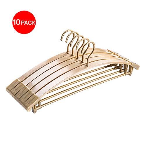 Jacke Leibchen (LLEH Kleiderbügel, Kleiderbügel Home Erwachsene Kleiderbügel Aluminiumlegierung rutschfeste Kleiderbügel für Mantel, Hose, Hemden, Leibchen, Jacke (10er-Pack),Gold)