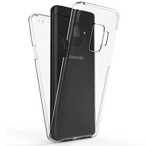 NALIA 360 Grad Handyhülle kompatibel mit Samsung Galaxy S9, Full-Cover Silikon Bumper mit Displayschutz vorne Hardcase hinten, Hülle Doppel-Schutz Dünn Ganzkörper Case Handy-Tasche, Farbe:Transparent