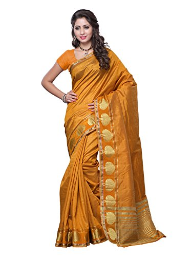 Mimosa Tassar Silk Saree (3032-Gold_Gold)  available at amazon for Rs.899