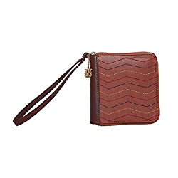 Chumbak Chevron Stitches Mini Wallet - Brown