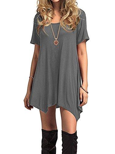 Azue Damen Sommerkleider Kurzarm Kleider Casual T-shirt kleid Loose Fit für Alltag Grau K EU 40 (Herstellergröße M)