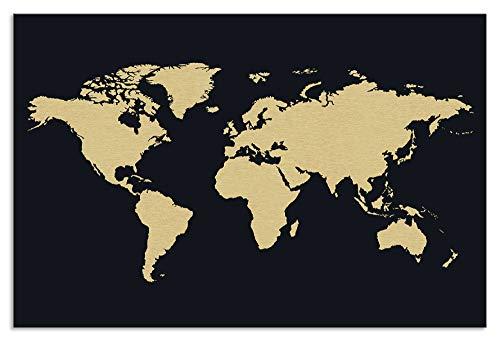 Artland Wandbild Alu mit Magnethalterung Moderne Bilder Metallbild 45x30 cm Deko Weltkarte Landkarte Modern Kunst Reisen Kontinente Karte T9CD