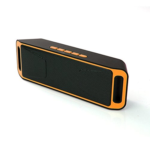 SCS ETC Portable Wireless Bluetooth Speaker Dual Full Range Driver with High-Definition Sound Quality & Superior bass, Sensitive Touch, 6 hour Playtime, Hand-free Calling (Orange)