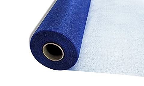 25m x 29cm Snow Sheer Organza Rolls Navy Blue with Glitter Fabric - Perfect as Christmas, Wedding or Party Decorations by Trimming