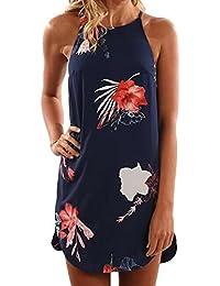 Winwintom Mujer Vestido Verano Sin Mangas Flor Impreso Casual Mini Vestido