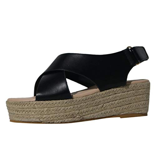 TUDUZ Damen Sommer Mode Sandalen Schnalle Wedges Plattform Retro Peep Toe Sandalen Damen Plateausandalen mit Keilabsatz Ballerinas(Schwarz,43EU) -