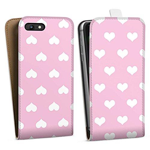 Apple iPhone X Silikon Hülle Case Schutzhülle Polka Herz Rosa Muster Downflip Tasche weiß