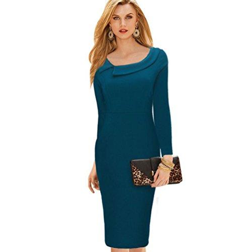 CHENGYANG Femme Elégant Slim Manches Longue Soirée Cocktail Clubwear Business Crayon Robe Bleu