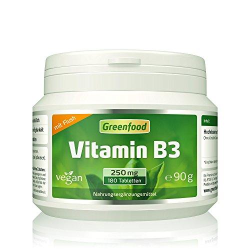 Greenfood Vitamin B3 Niacin (mit Flush-Effekt), 250 mg, hochdosiert, 180 Tabletten, vegan – das Glücks-Vitamin, fördert die Durchblutung. OHNE künstliche Zusätze. Ohne Gentechnik.