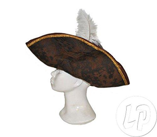 Lot / Set von 12 Stück - tricorn Hut Kunstleder mit weißer Feder