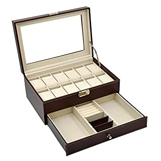Autoark AW-003 Brown Leather 12 Mens Watch Box with Jewelry Display Drawer Lockable Watch Case Organizer by Autoark