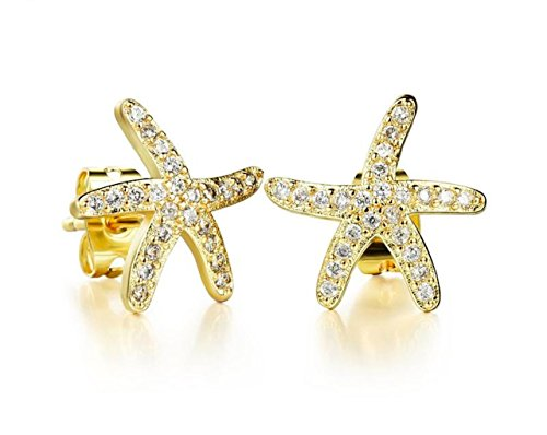 Delicate Good Quality 18K Yellow Gold AAA Quality Gemstone Crystal Starfish Stud Earrings