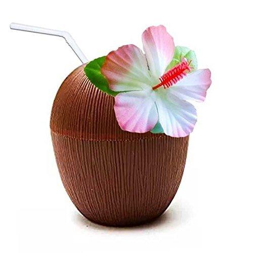 arty Kokosnuss Tasse Mit Blume & Strohhalm (Kokosnuss-tasse Mit Blume Und Strohhalm)