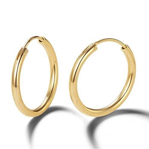 Pendientes De Aro para Mujer Plata de ley 925 Chapada en Oro círculo Aretes Pendientes Hoops - Diámetro: 20 mm