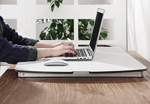 RICOO Universal Sitz Steh Monitor Halterung TS1111 Schreibtischaufsatz Höhenverstellbar Ergonomie Gasfeder Ultra Flach Bildschirm Monitorstand Weiss Silber - 5