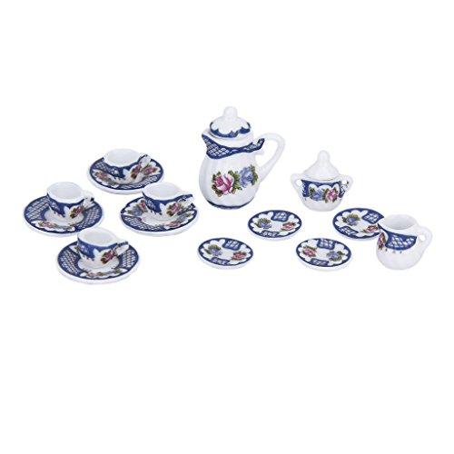 15pz Casa Delle Bambole In Miniatura Sala Porcellane Tè Piastra Tazza Piatto Set Stile Britannico (Cina Tazze Set)