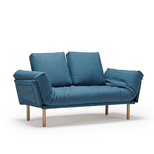 Innovation Live Sofa, Design Rollo STEM Schlafsofa, Bettgestell, 200 x 80 cm, Eiche, Stoff, Elegance Petrol