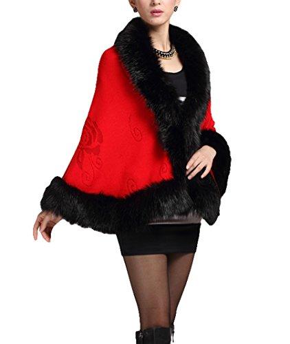Frauen Damen Mädchen Cape Coat Kunstfell Strickwaren Nylonhülle Umhang Schal Schwarz - Rot