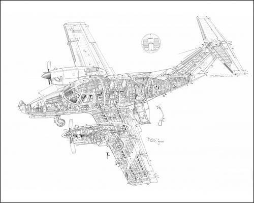 photographic-print-of-embraer-emb-121-xingu-cutaway-drawing
