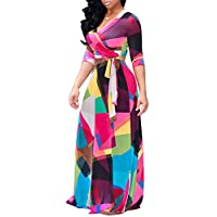 shekiss Women's Casual Sexy V Neck Long Sleeves Floral Printed Flowy Maxi Dress Party Wedding Ladies Outfits