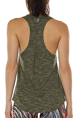 icyzone Workout Tank Tops for Women - Athletic Yoga Tops, Racerback Running Tank Top, Gym Exercise Shirts