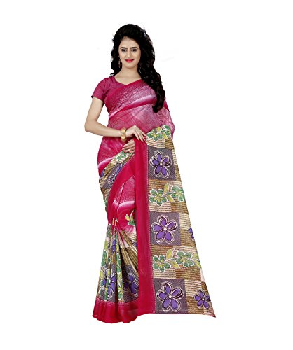 Kashvi Sarees Faux Georgette Printed Pink Color & Multicolor With blouse piece (1248 )  available at amazon for Rs.299