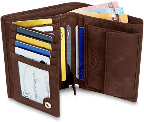 GenTo® Herren Geldbörse Dublin - TÜV geprüfter RFID NFC Schutz - Geräumiger Geldbeutel im Hochformat   Design Germany