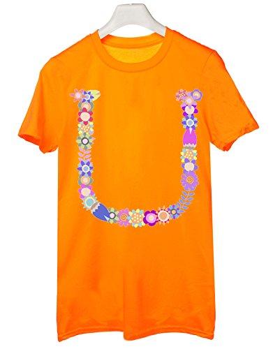 Tshirt nome con iniziale floreale U - fashion - summer - idea regalo - Tutte le taglie Arancione