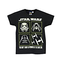 Star Wars Boys Glow in The Dark Short Sleeve T-Shirt Ages 3 to 14 Years