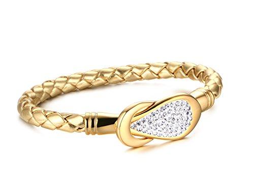 Vnox Regalo di cristallo nodo braccialetto Handmade del cuoio delle donne degli uomini in acciaio inossidabile intrecciato 20.5